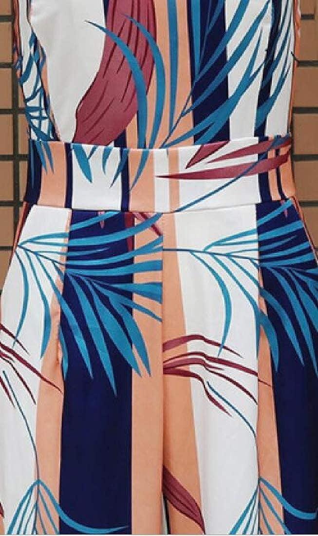 GAGA Womens Jumpsuit Sleeveless Printed Clubwear Wide Leg Pants Outfit