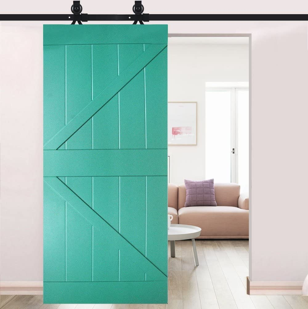 183/cm//200/cm Puerta Corredera de hardware kit Negro para puerta Individual hardware Track kit v/ía para puerta Corredera