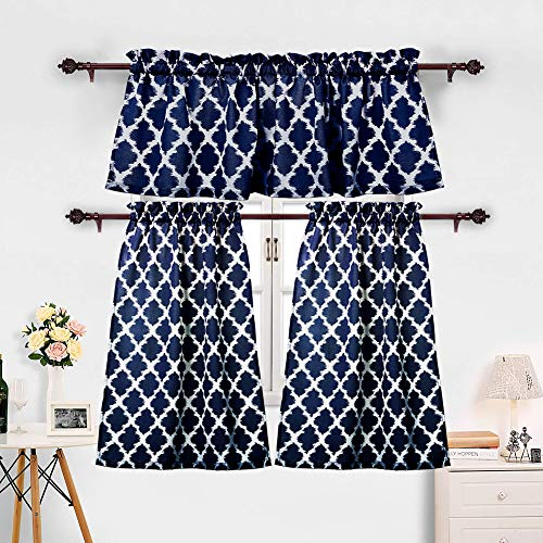 Curtain State Valance Printed - 3 Pieces Kitchen Curtains Set Moroccan Cotton Blend Kitchen Cafe Tier Curtains and Valance Geometric Printed Print Rod Pocket Small Window Curtain for Bathroom Navy Blue (Set of 2 Panels 36