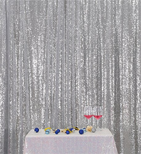 Eternal Beauty Silver Sequin Wedding Backdrop Photography Background Party Curtain, 7Ft X 7Ft