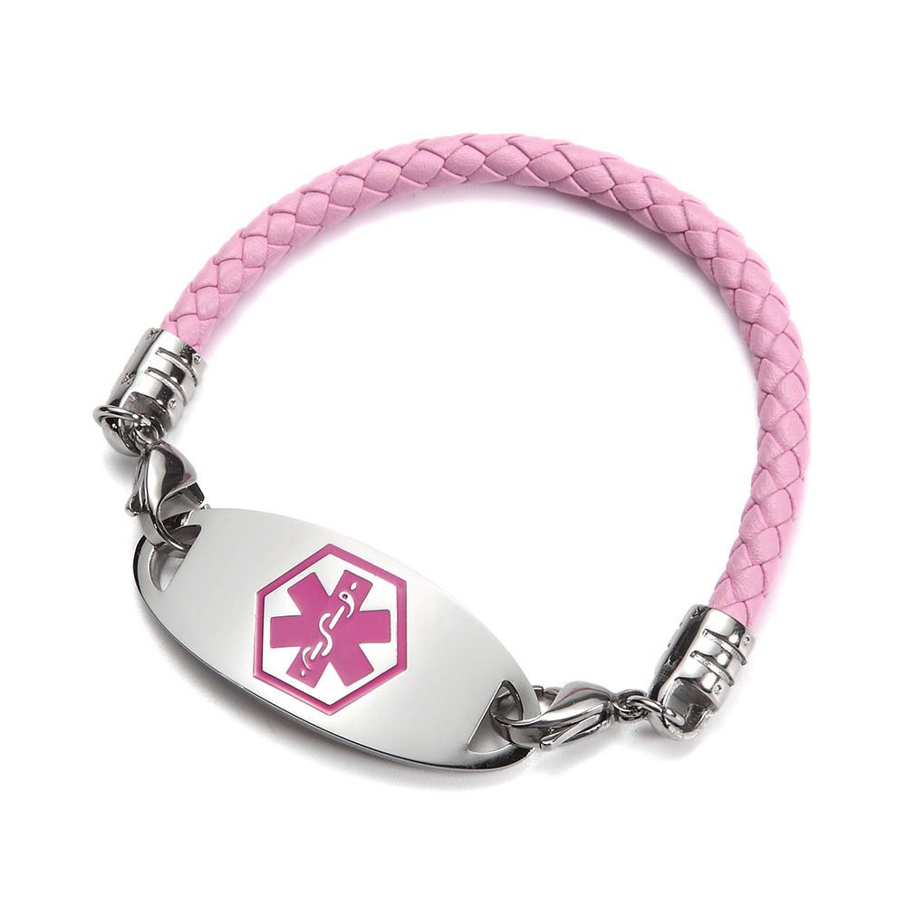 BBX JEWELRY Pink Leather Medical Alert Bracelets with Interchangeable Pink Medical ID Tag for Women B0076H-H