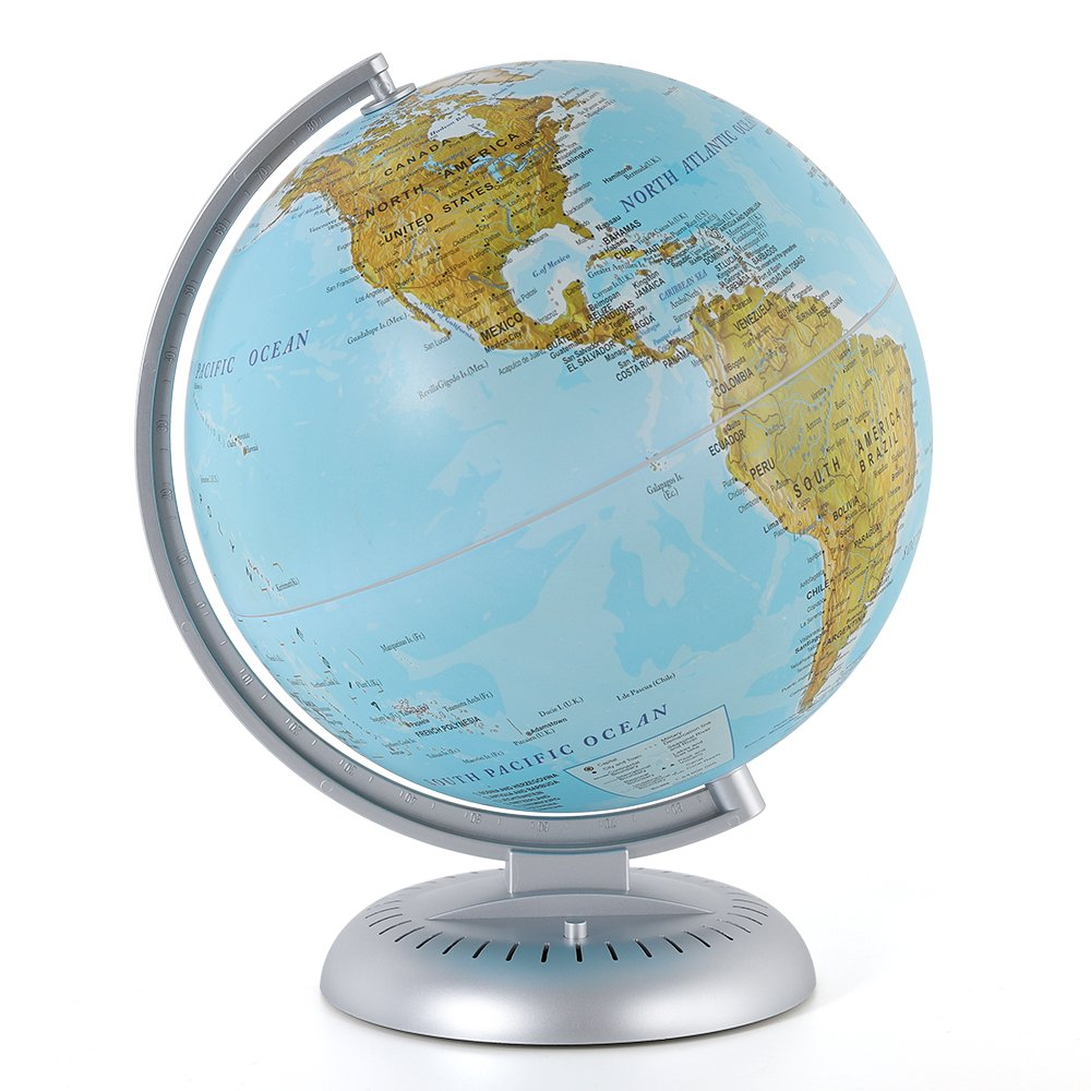 HAITRAL Illuminated World Globe - Night Light Desk Globe Lamp for Kids with Stand, Globe Map, Built in LED for Illuminated Night View (HT-AD003)