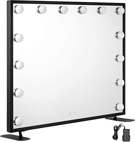 Vevor Vanity Led Make Up Mirror 600 X 500 Mm Cosmetic Mirror Illuminated With 14 Dimmable Led Lamps Makeup Mirror For Table Cosmetics Black Amazon De Home Kitchen