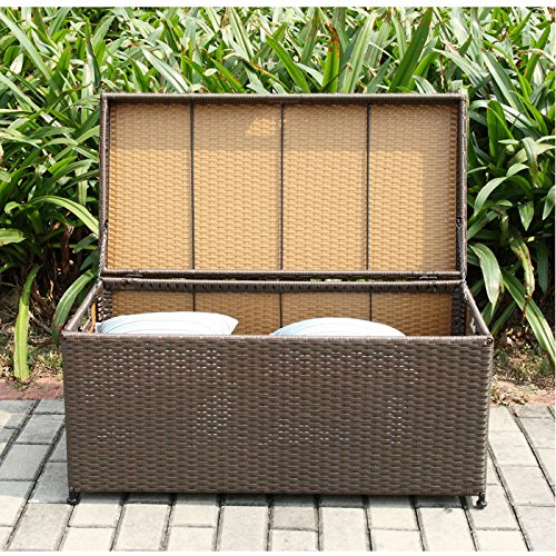 Amazon com   Jeco Wicker Patio Storage Deck Box in Black   Outdoor And Patio  Furniture Sets   Patio  Lawn   Garden. Amazon com   Jeco Wicker Patio Storage Deck Box in Black   Outdoor