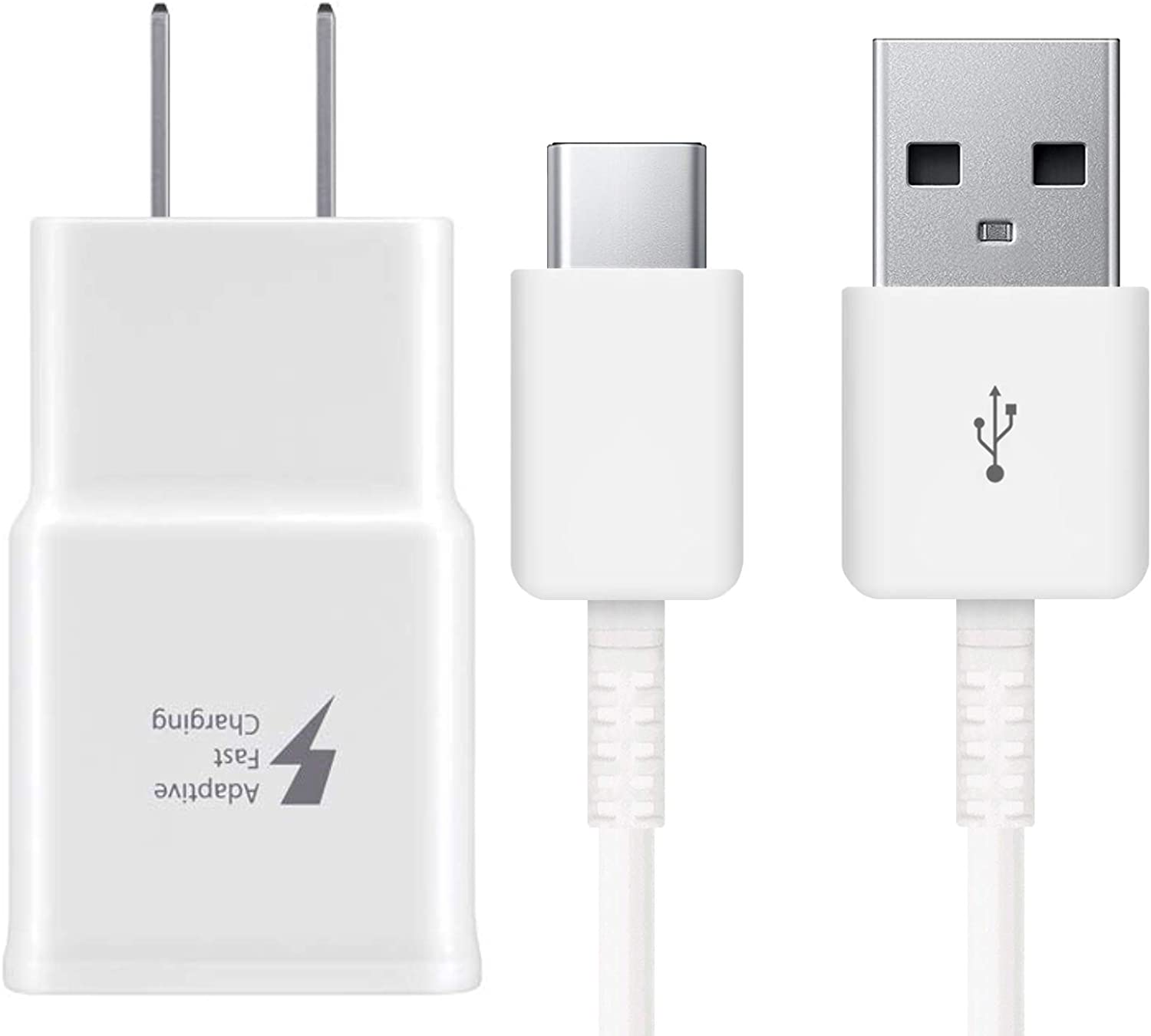Adaptive Fast Charger for Galaxy S8, S8+, S9, S9+, S10+, Note 8, Note 9 USB-C 3.1 Type-C Cable Kit Fast Charging USB Wall Charger AC Home Power Adapter [1 Wall Charger + 4 FT Type-C Cable] (White)