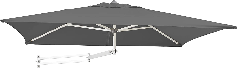 Gris fonc/é Carr/é 200x200cm D/éport/é Inclinable avec Support Mural et Cadre Aluminium Easysol Parasol Mural