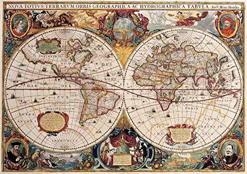 (Yilooom Double Hemisphere World Map Vintage Style Art Silk Poster 8x12)