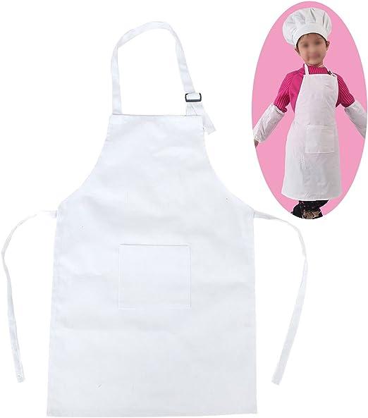 Delantal para niños, para cocinar, de algodón blanco, ajustable ...