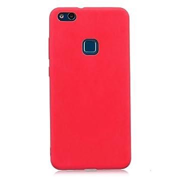 cuzz Funda para Huawei P10 Lite+{Protector de Pantalla de Vidrio Templado} Carcasa Silicona Suave Gel Rasguño y Resistente Teléfono Móvil Cover-Rojo