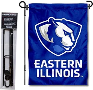College Flags & Banners Co. Eastern Illinois Panthers New Logo Garden Flag and Flag Stand Pole Holder Set