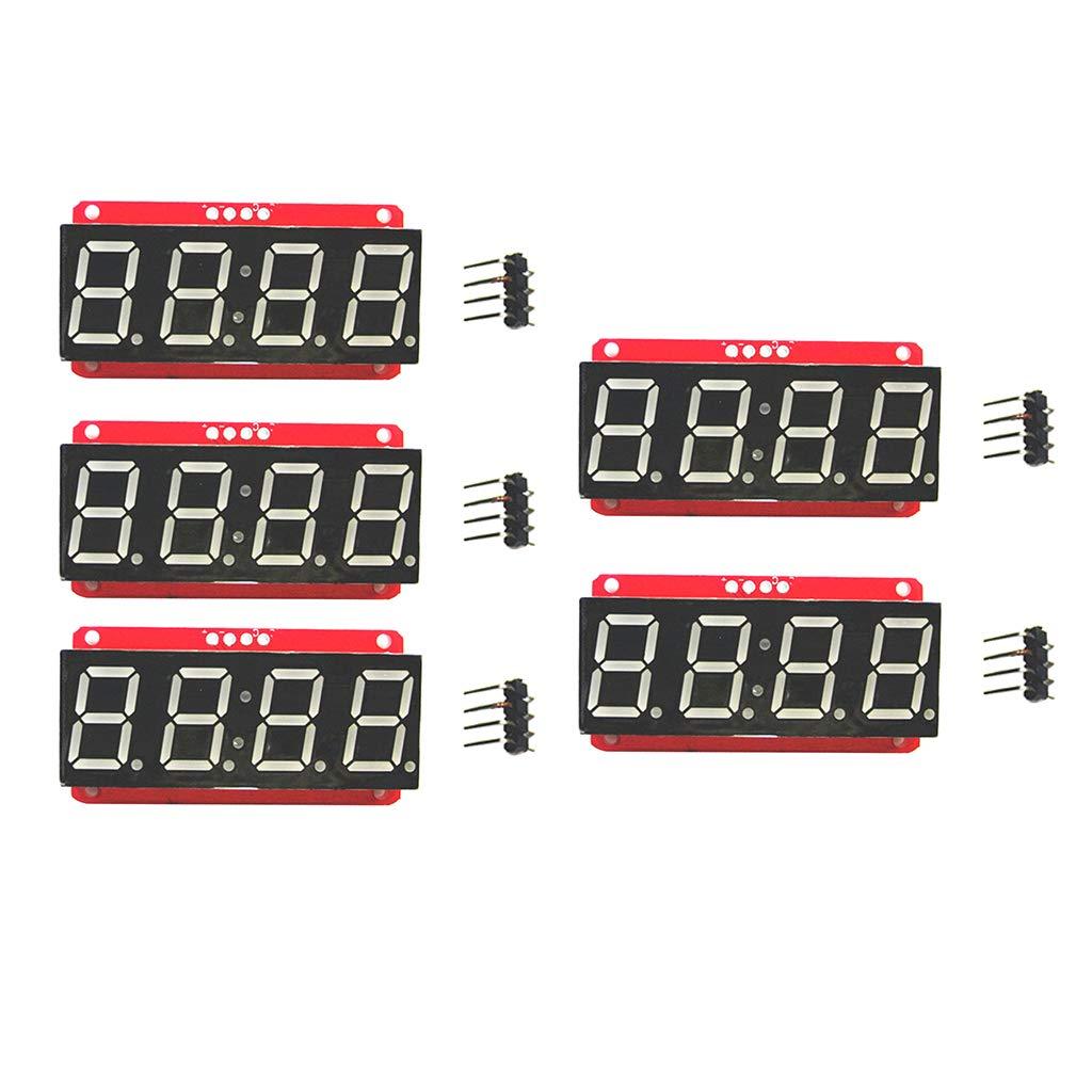 5 Pcs Pantalla LED 0.56 Pulgadas M/ódulo de Tubo Digital de 4 D/ígitos Corriente Constante I2c Sentado en Parte Posterior de PCB