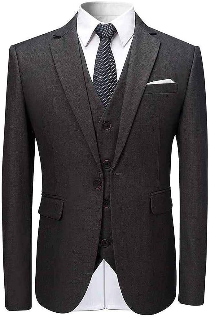 Aoogo Herren 3-teiliger Anzug Blazer Elegant Mehrere Farben und Gr/ö/ßen Slim Business Solid Sakkos Hochzeit Jacke Weste /& Hosen Herbst Winter