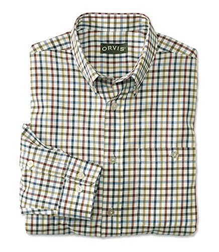 Orvis Men's Country Twill Long-Sleeved Shirt/Tall, Rust/Navy, X Large -