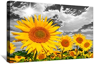 Wall Art for Bedroom kitchen Wall Artworks dining room Decoration Black and white Canvas art Prints bathroom Wall decor yellow sunflower flowers Pictures wall paintings Home Decoration-16x24 inch