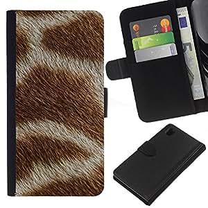 [Neutron-Star] Modelo colorido cuero de la carpeta del tirón del caso cubierta piel Holster Funda protecció Para Sony Xperia Z1 L39 [Patrón Blanco Marrón África Animal]