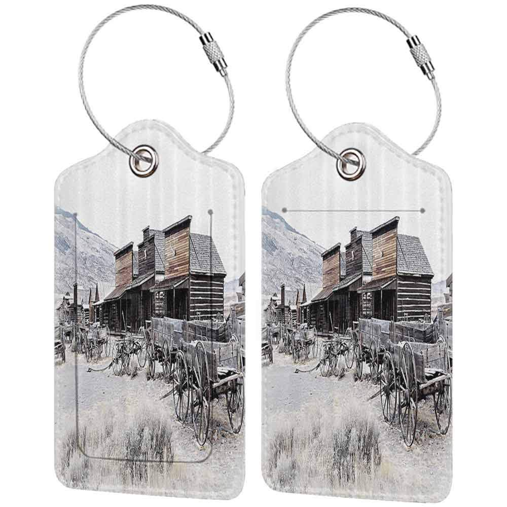 Modern luggage tag Western Decor Old Wooden Wagons from 20s in Ghost Town Antique Wyoming Wheels Art Print Suitable for children and adults Brown White W2.7 x L4.6