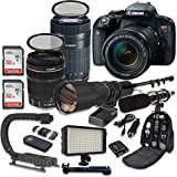 Canon EOS Rebel T7i DSLR Camera with Canon EF-S 18-135mm f/3.5-5.6 IS STM Lens + Canon EF-S 55-250mm f/4-5.6 IS STM Lens + 500mm f/8 Preset Lens + Kit