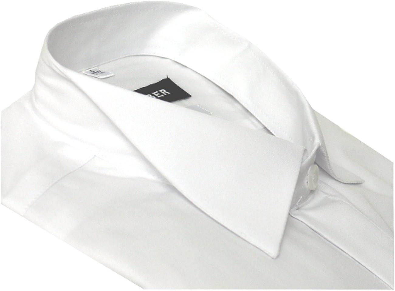 HUBER Smoking Hemd wei/ß Slim Fit Kl/äppchen-Kragen Umschlag-Manschetten HU-0351 Schmaler Schnitt Made in EU