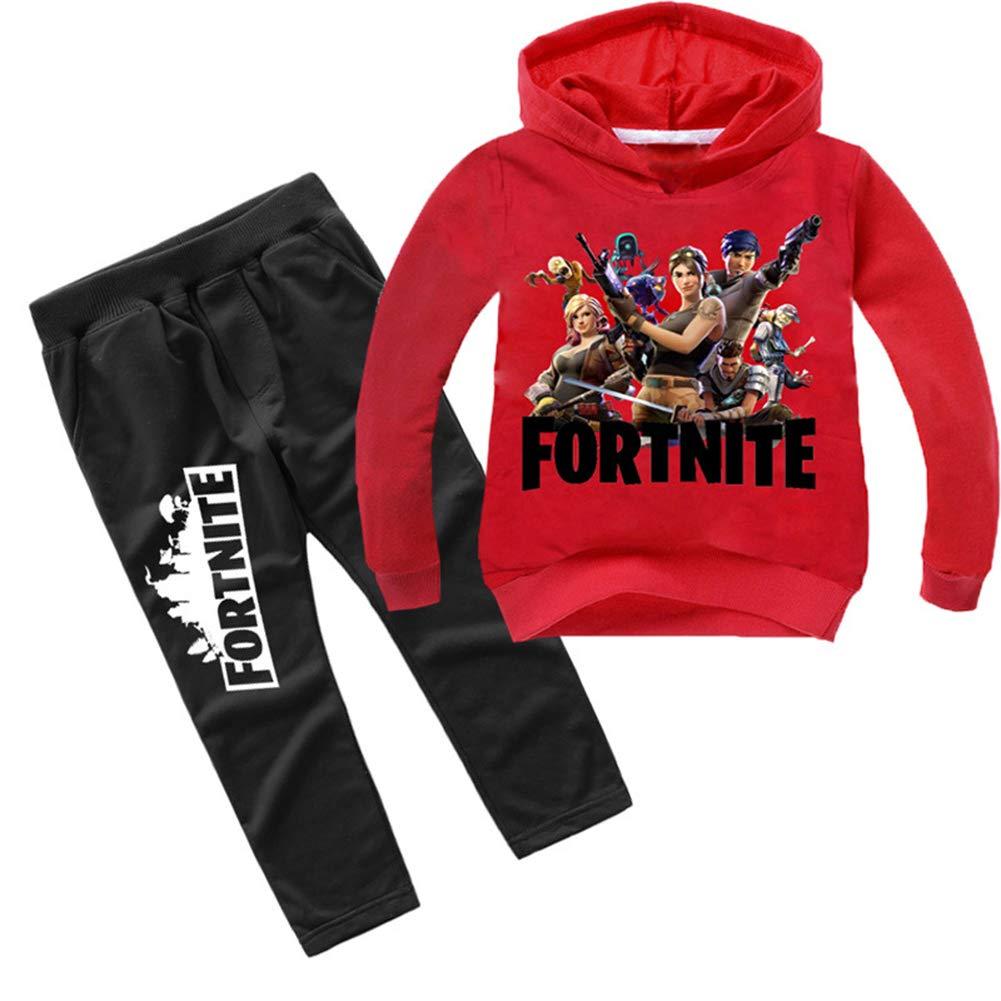 Mvruve Fortnite Hoodie Boys Girls Hooded Kids Sweatshirts Pants Set