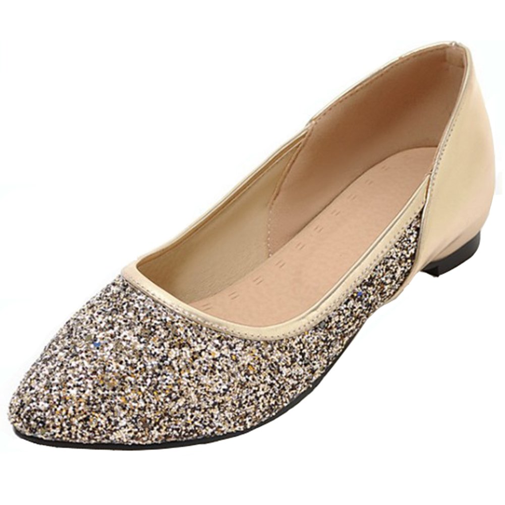 d5f276697967 Aisun Women s Sparkly Sequins Sequins Sequins Low Cut Pointed Toe Dress  Driving Cars Go Easy Slip on Flats Shoes B071JT8D5Y 9.5 B(M) US
