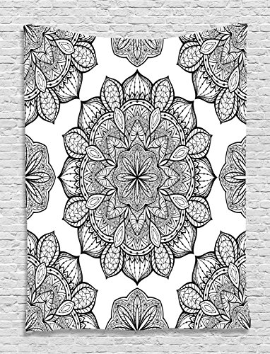 Black and White Tapestry Ethnic Decor by Ambesonne, Hippie Celestial Look Floral Pattern Oriental Abstract Art, Bedroom Living Kids Girls Boys Room Dorm Wall Hanging Tapestry, Black and White