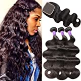 Flady Brazilian Virgin Hair Body Wave 3 Bundles with Free Part Closure 8a Unprocessed Human Hair Extensions with Closure (20 22 24+18inch free part closure)