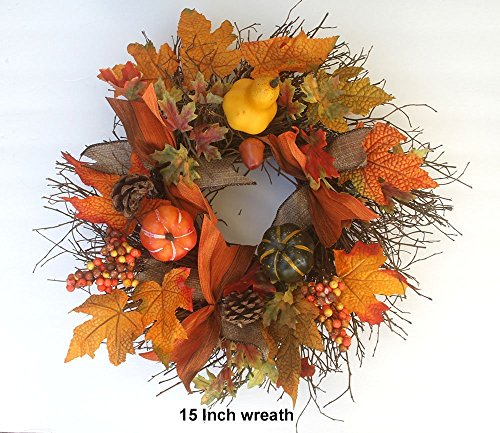 - Fall/Autumn/ Harvest wreath for front door, small 15 inch wreath