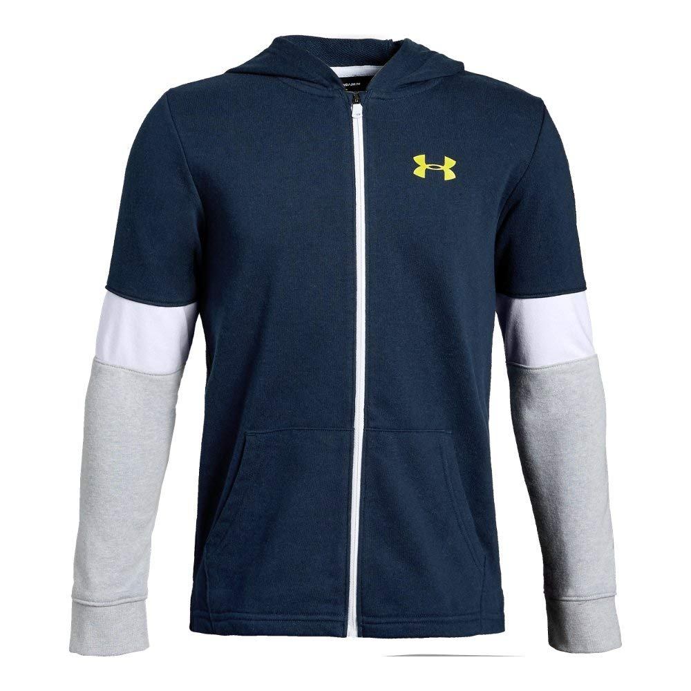 Under Armour Rival Terry Full Zip Sweat Shirt, Academy//Lima Bean, Youth Medium