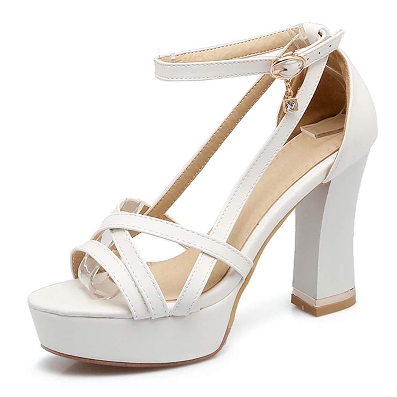 White Summer Platform High Heels Sandals Classic Thick Heel Sandals