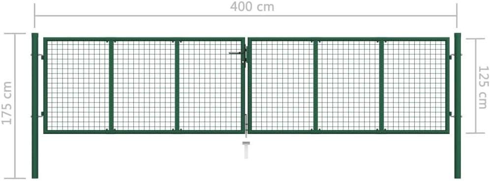 vidaXL Mesh Gartentor Doppelfl/ügeltor Doppeltor Gartent/ür Zauntor Hoftor Zaunt/ür Gartenpforte Einfahrtstor Tor Stahl 400x125cm Gr/ün