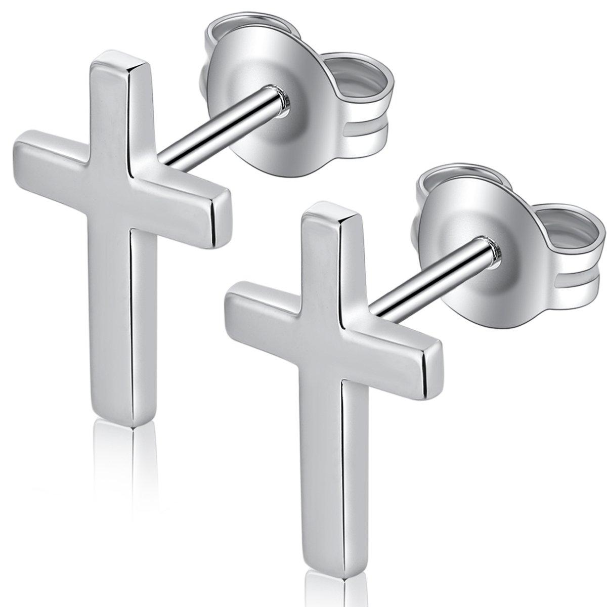 Simple Cross Stud Earrings Gorgeous Small Cross Dangle Earrings Hypoallergenic Sterling Silver Cross Stud Earrings Religious Cross Crucifix Earrings,Silver Cross Studs Earrings,Tiny Cross Stud Earring