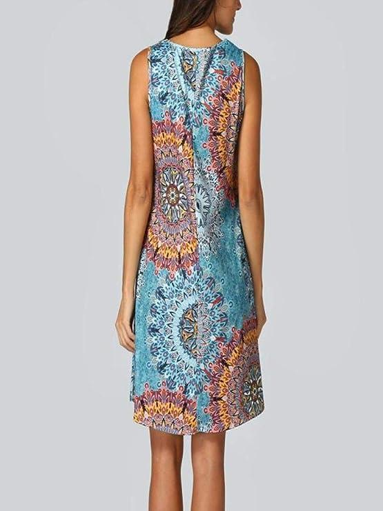 YUAFOAE Vestidos Sexys para Mujer Fiesta, Moda Diario O-Cuello Off Shoulder Casual Suelto Faldas con Bolsillos: Amazon.es: Ropa y accesorios