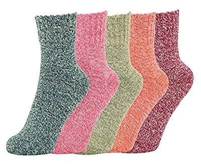 Pack of 5 Womens Thick Knit Warm Casual Wool Crew Winter Socks