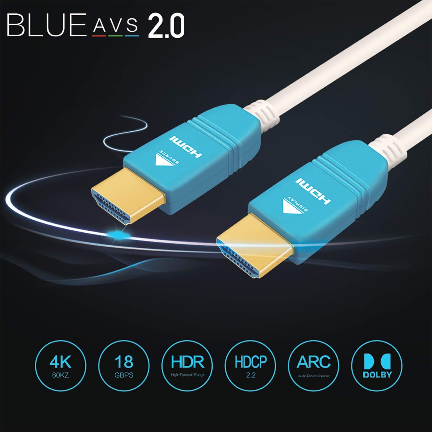 HDMI Cable 30ft, BlueAVS Fiber Optic Cable 4K 60Hz 9m HDMI 2.0b High-Speed 18Gbps Dolby Vision HDCP2.2, 3D / HDR/ARC, 4:4:4/4:2:2/4:2:0 White by BlueAVS (Image #7)