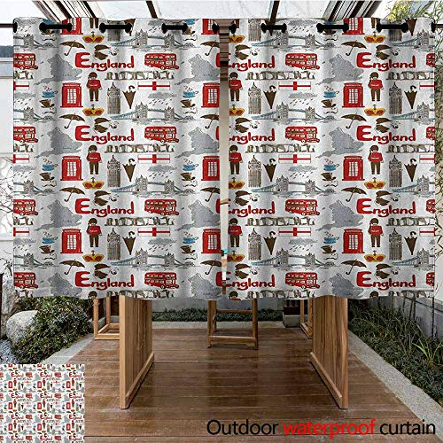 Ties Stonehenge - AndyTours Outdoor Blackout Curtain,London,Fun Colorful Sketch Royal Guard Map Rain Famous Country Landmarks and Stonehenge,for Patio/Front Porch,K160C115 Multicolor