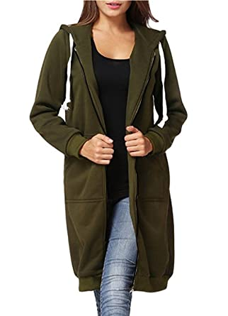 Dongpai Women s Casual Zip Up Hoodie Solid Long Jacket Sweatshirt Outerwear  Plus Size 810abcd2c05