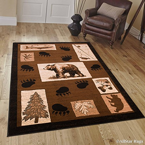 (Allstar 8x11 Brown Cabin Rectangular Accent Rug with Mocha and Ivory Wildlife Bear Paw Print Design (7' 6