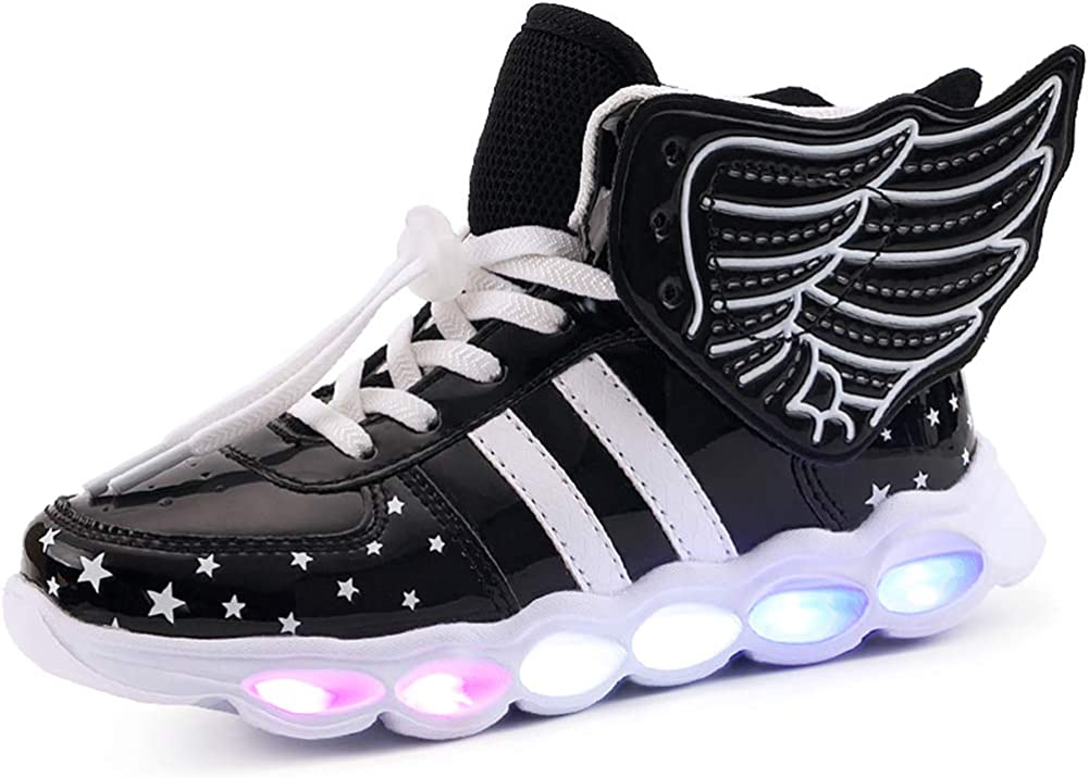 Kids Boy and Girls High Top Led Sneakers Light Up Flashing Shoes Toddler//Little Kid//Big Kid Silver 35//3?