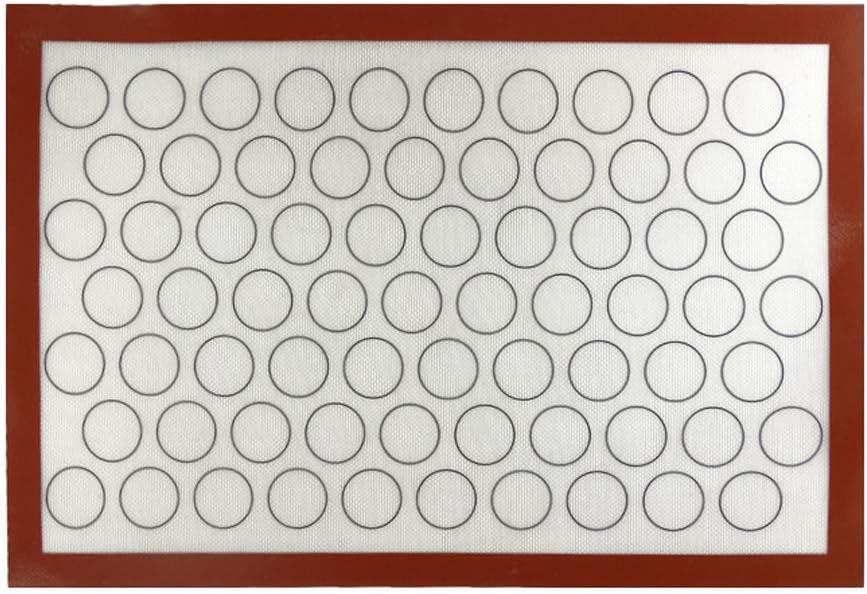 60cm Meiyiu 60X40cm Hogar Antiadherente Estera de Fibra de Vidrio de Silicona Horno para Hornear Pasteles Macaron Cake Cookie Sheet Kitchen Bakeware Gadgets Macaron en Blanco con Borde Rojo 40