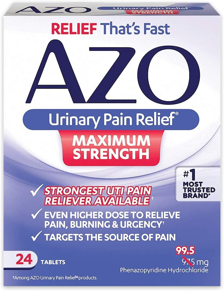 Amazon Com Azo Urinary Pain Relief Maximum Strength Fast Relief Of Uti Pain Burning Urgency Targets Source Of Pain 1 Most Trusted Brand 24 Tablets Health Personal Care