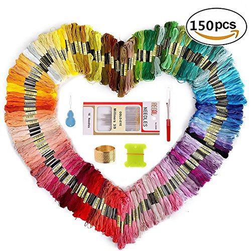 Embroidery Thread and Embroidery floss – Sotica 150 Skeins Embroidery Floss with 16 Pcs Embroidery Needles,friendship bracelet string,Cross Stitch Threads and Cross Stitch Tool Kit, Perfect Embroidery