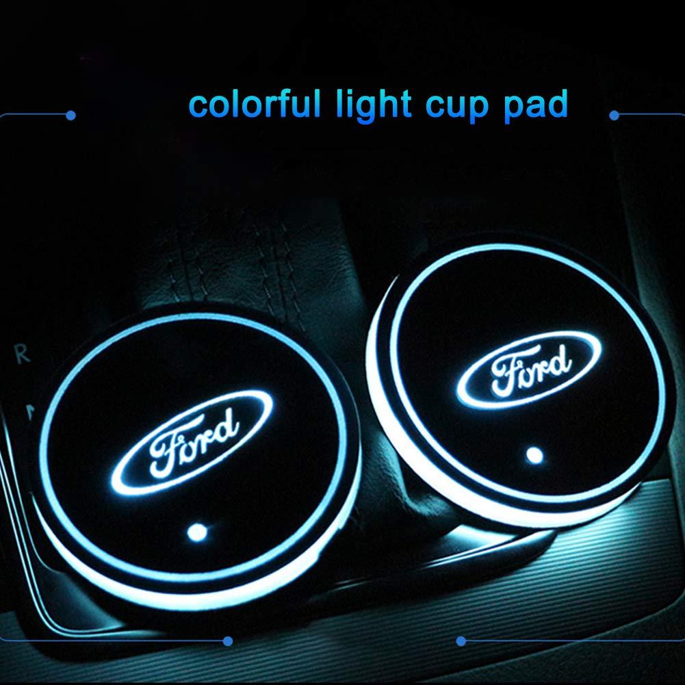 LED Cup Halter Matte 2 Pack 7 Farben USB Aufladung Auto Innendekoration Licht Lampe f/ür Auto Parkomm LED Auto Logo Cup Holder Pad