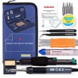 Best Soldering Iron Kit, Full Set 70W 110V Adjustable Thermostat Soldering Iron, Gathered with Tips, Anti-Static Tweezers, Solder Sucker, Soldering Wick, Rosin and Aid Tools in Organized Case