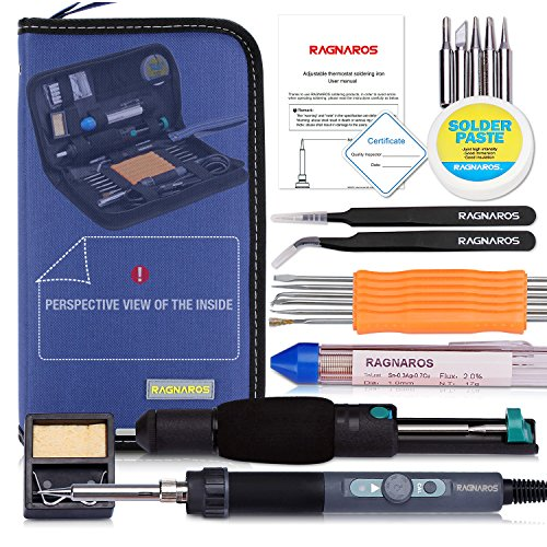 Best Soldering Iron Kit, Full Set 70W 110V Adjustable Thermostat Soldering Iron, Gathered with Tips, Anti-Static Tweezers, Solder Sucker, Soldering Wick, Rosin and Aid Tools in Organized Case by xiuyi tech, LTD