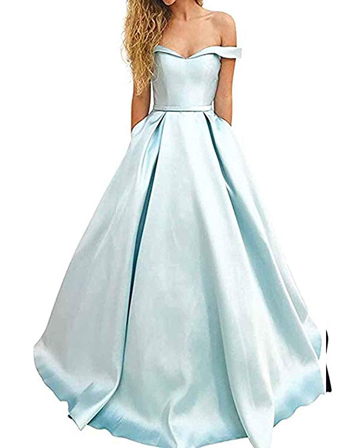 Light bluee WHLWHL OffTheShoulder Long Prom Dress Party Gowns for Women 2019 Evening with Pockets