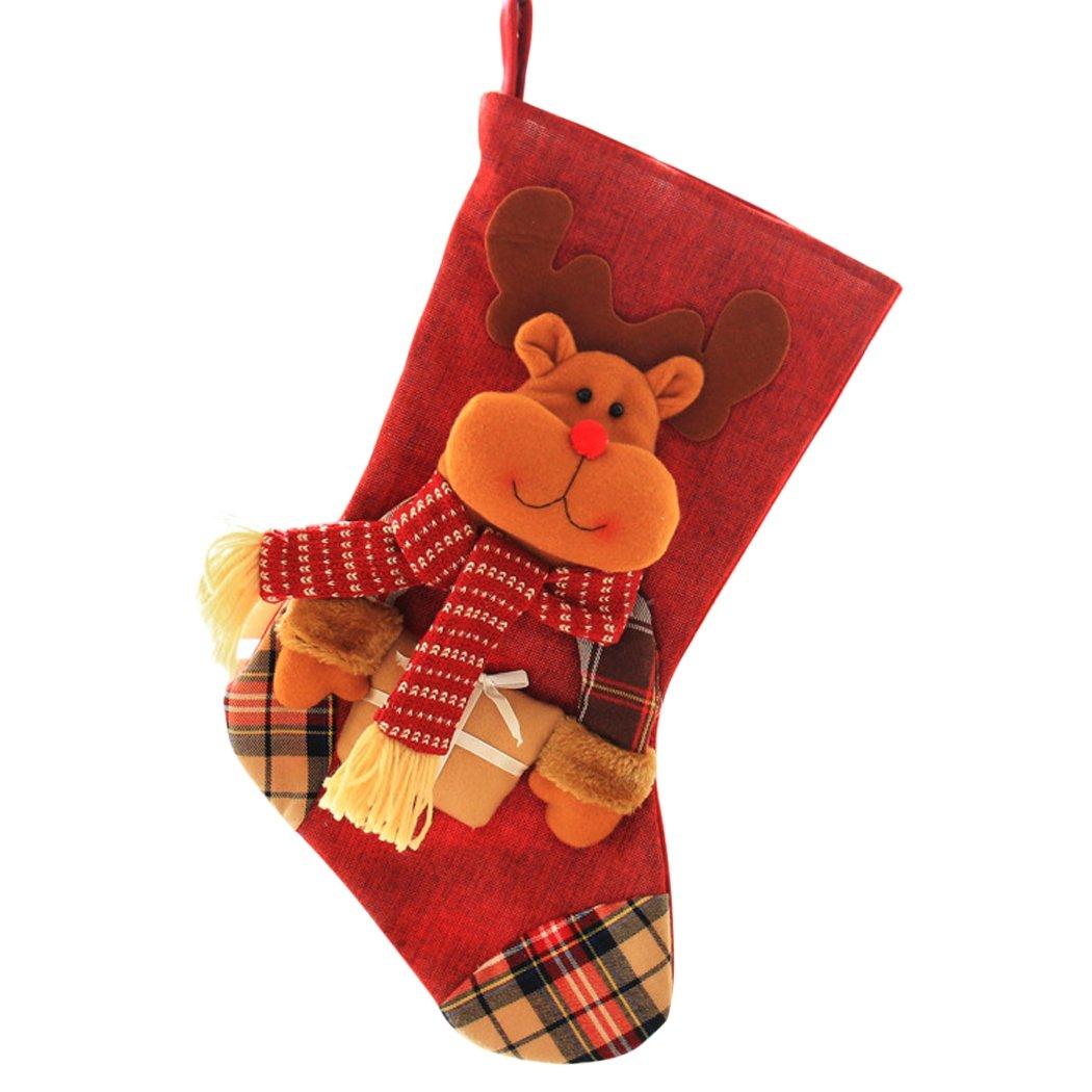 Funpa Weihnachten Strümpfe Aufhängen Candy Tasche Xmas Tree Dekoration Weihnachten Geschenk Tasche One Größe REH/Hirsch