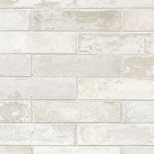 Manhattan Comfort LL29532 Swiss Brick Wallpaper, Cream/Grey ()