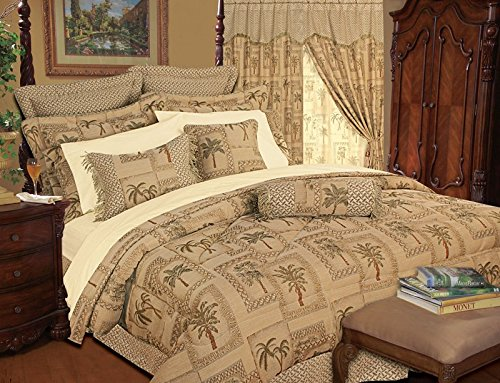 9 Piece Queen Tapestry Palm Bedding Comforter Set - Comforter Sets Tropical