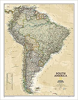 Map Of South America 2017.South America Executive Laminated National Geographic Maps