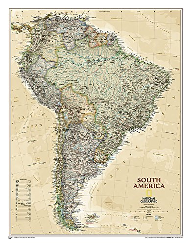 (National Geographic: South America Executive Wall Map - Laminated (23.5 x 30.25 inches) (National Geographic Reference Map))